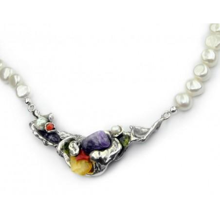 Collar de Plata de Ley y Perlas de La Perionda