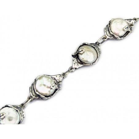 Pulsera Jalowi de plata de ley y perlas de La Perionda