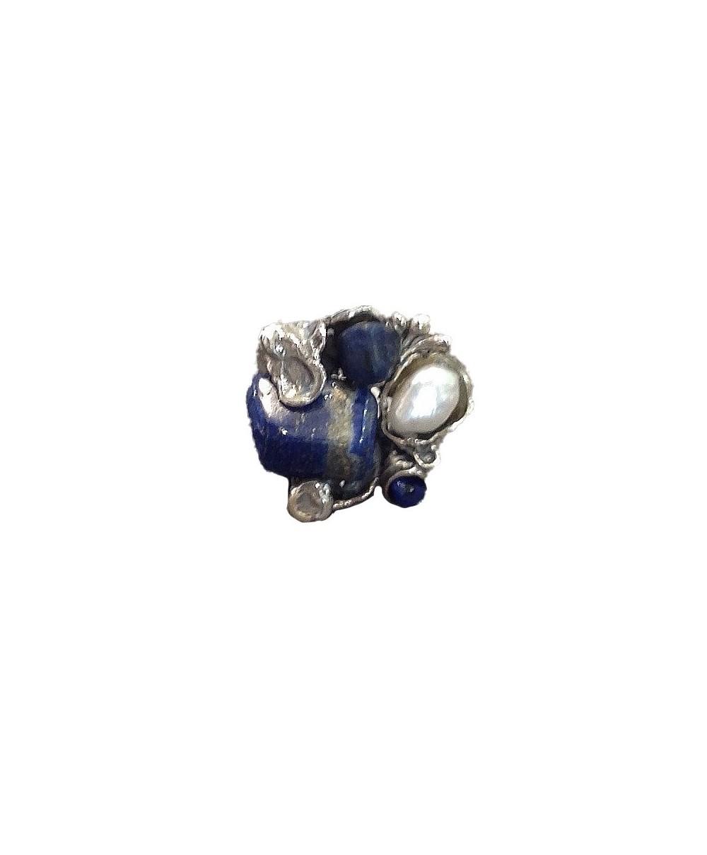 Sortija Plata y Lapislázuli y Perla 770L de La Perionda
