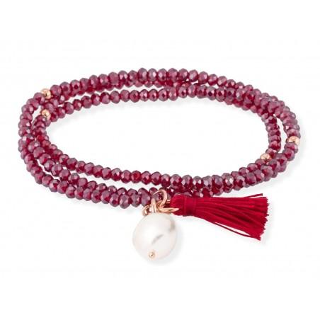 Pulsera Zen Rojo en Plata Rosa