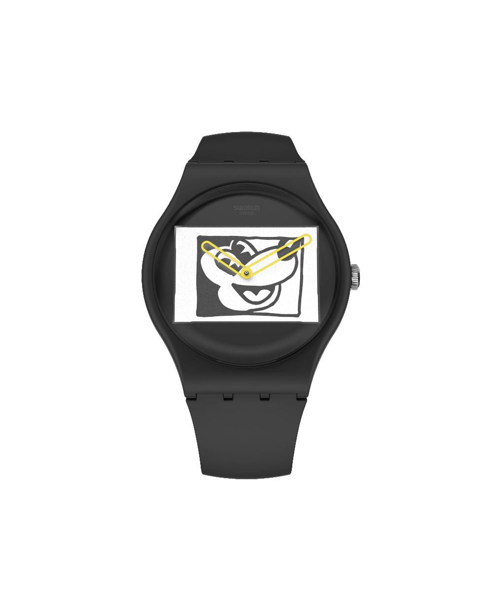 Reloj Swatch Mickey Blanc Sur Noir SUOZ337