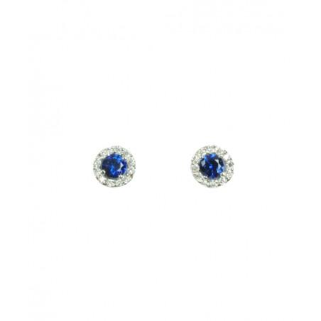 Pendientes Oro Blanco con Brillantes y Zafiros 516858-BZ