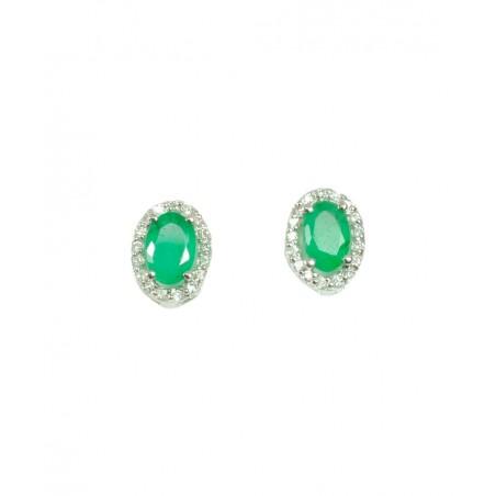 Pendientes de Oro Blanco con Brillantes y Esmeraldas 516859-BE
