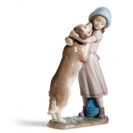 FIguras regalo de Lladró Figura Niña con Perro Cariñosa Bienvenida